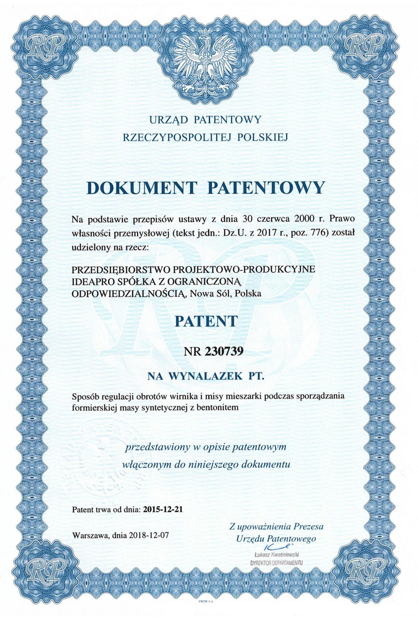 Patent 230739_ Sposób regulacji obrotów wirnika i misy mieszarki